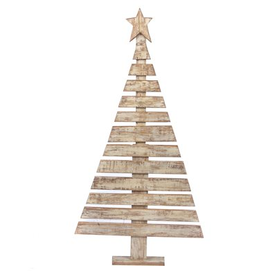 Wooden Hand Painted Christmas Tree White 49in High