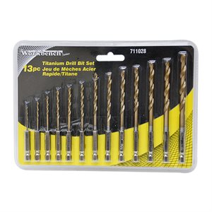 13PC Drill Bit HSS Titanium Hex Shanks Set