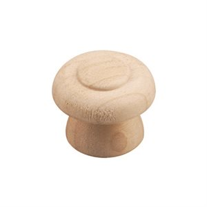 2Pk Wood Knob Unfinished 1½in (Pair)