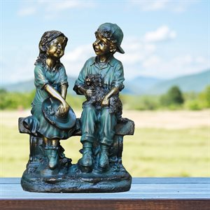 """Garden Statue of Girl and Boy Sitting on Bench with Puppy 16"""" high"""