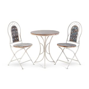 Bistro Set with Weathered Wood Table and Two Chairs