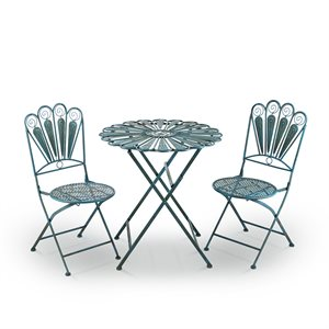 Bistro Set with Peacock Feather design Includes Table and Two Chairs