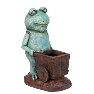 Garden Statue Frog Pushing Wagon Planter