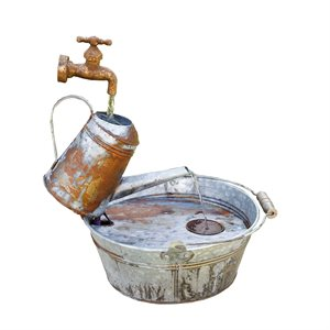 Outdoor Fountain Rustic Metal Watering Can