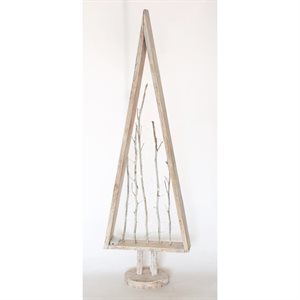 Wooden Hand Painted Tree With Twigs and Battery Operated Lights White 42.5in