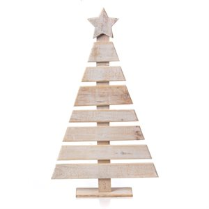 Wooden Hand Painted Christmas Tree White 27-1 / 2in High