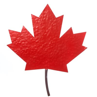 Decorative Red Metal Maple Leaf Wall Décor 22in