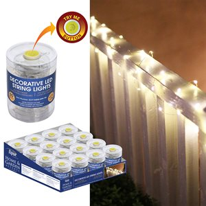 Light String Prepack Mini Battery Operated with timer 60 Warm White bulbs 16pc with Try Me